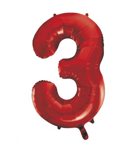 Red Number 3 Foil Balloon